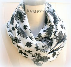 Aztec Scarf Black White Grey Tribal Print Infinity Scarf  Hipster Trendscarf Scarves  - By PiYOYO on Etsy, $19.99