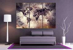 3 Panel Split Art World Map Canvas Print, Dramatic look. deep frames, Triptych, wall art for home/office wall decor & interior design Large Wall Art, Canvas Wall Art, Wall Art Prints, Santa Canvas, Cheap Canvas Prints, Triptych Art, World Map Canvas, Thing 1, Office Wall Decor