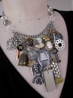 Vintage Necklace Charm Necklace Bib Necklace A by rebecca3030