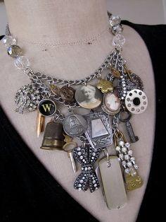 Vintage Necklace Charm Necklace Bib Necklace A by rebecca3030