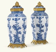 A PAIR OF GILT-BRONZE MOUNTED JAPANESE ARITA PORCELAIN COVERED VASES, EDO PERIOD, 17TH CENTURY, THE MOUNTS LOUIS XV Blue Danube China, Blue And White China, Blue China, Japanese Porcelain, Japanese Ceramics, White Porcelain, Japanese Art, Japanese Beauty, Blue Pigment