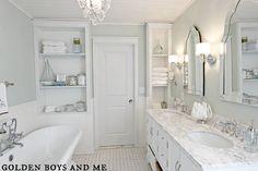 $7,000 diy Master Bathroom, carrera marble, built ins, pedestal tub-www.goldenboyandme.com