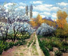 Claude Monet ~ Garden of Montgeron, date unknown. I just want you to enjoy your day Claude Monet, Post Impressionism, Impressionist Paintings, Monet Paintings, Landscape Paintings, Abstract Paintings, Painting Art, Artist Monet, Oil Painting Reproductions