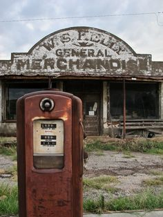 A dilapidated general store in the ghost town of Cogar, Oklahoma ~