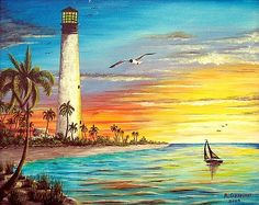 Lighthouse Sunrise Art Print Lighthouse Print featuring the painting Lighthouse Sunrise by Riley Geddings Watercolor Landscape, Landscape Art, Landscape Paintings, Watercolor Paintings, Oil Paintings, Art Tropical, Sunrise Painting, Lighthouse Painting, Ouvrages D'art