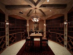 In Vino Veritas Adjacent to the downstairs bar is this impressive wine cellar featuring beautiful limestone masonry and heavy wood beams. The wine cellar's design was inspired by the owners' travels in Italy. Luxury Estate, Luxury Homes, Luxurious Homes, Million Dollar Rooms, Home Wine Cellars, Wine Stand, Living Colors, Wine Cellar Design, In Vino Veritas