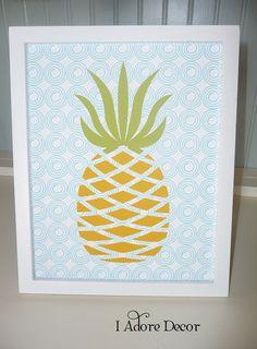 Art Print PINEAPPLE Bon Appetit Modern Kitchen - Choose colors. $14.00, via Etsy.