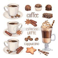 ilustrações em aquarela de doces de chocolate e xícara de café — Imagem Stock #39800805
