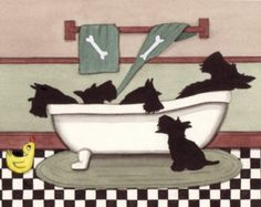 Scottish terriers hung by chimney with care Lynch folk art Christmas cards