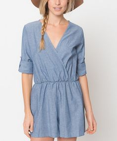 Look what I found on #zulily! Blue Marled Surplice Romper by Caralase #zulilyfinds