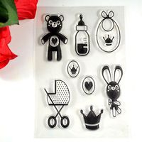 Coolhoo 1pc TPR silicon clear Stamp Little bear rabbit for Baby shower party  DIY Scrapbooking/Card Making/ Decoration Supplies