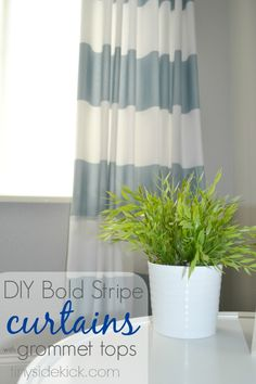 DIY Grommet Top Curtains {a Crate & Barrel Knock Off}... she uses grommet tape at the top and snap on grommets.. sooo easy!