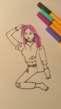 Beautitful girl likes purple hair