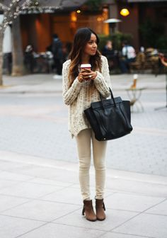 Sweater: H | Skinnys: Citizens of Humanity | Booties: Coach | Bag: Celine