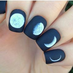 Moon art design acrylic nails