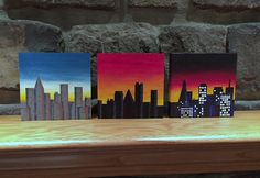 Wood wall art cityscape paintings set of 3 by TreetopWoodworks