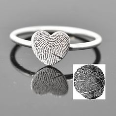 Fingerprint Ring Fingerprint Jewelry Stacking Ring Heart Ring Engraved Ring Personalized Jewelry Bridesmaid Gift Best Friend by JubileJewel on Etsy - March 23 2019 at Sparkly Jewelry, I Love Jewelry, Gold Jewellery, Silver Jewelry, Silver Ring, Gemstone Jewelry, Branded Jewellery, Rhinestone Jewelry, Glass Jewelry