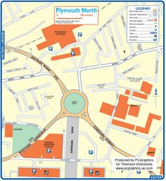 Map of Plymouth North created in 2011 for Thomson Directories. One of approximately 350 UK town and city maps produced royalty free. Find out more...  http://www.pcgraphics.uk.com   or read our blog...    http://www.pcgraphics.uk.com/blog/