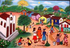 """Arte naif brasileño. """"As fofoqueiras"""", artista: Rosângela Borges. Pineado de http://blog.clickgratis.com.br/ajursp/ La información sobre esta artista es un regalo de @danicattarossi :-)"""
