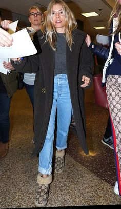 Sienna Miller Just Wore the Gucci Version of Ugg Boots to the Airport Shearling Slippers, Shearling Jacket, Winter Looks, Sienna Miller Style, Gucci Boots, Cool Coats, Loose Jeans, Double Breasted Coat, Winter Trends