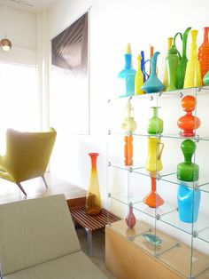 Vintage Mid-Century Modern Glass Collection at Modernica's Showroom including many selected pieces from Blenko Glass