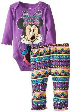 Disney Baby Girls Newborn Minnie Mouse Bodysuit and Pant Set, Purple, 3-6 Months