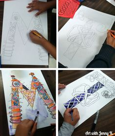 Students love making Celtic Knot paintings of their last name initial for St. patrick's Day art projects! #artprojects