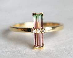.pretty watermelon tourmaline  & diamond ring