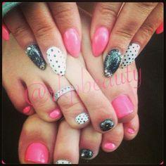 Almond pointed nails matching mani pedi pink, polka dots, glitter, rhinestone nail art gel polish over acrylic