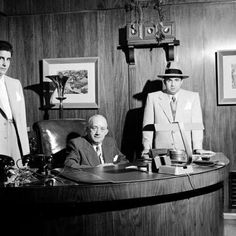 Johnny Stompanato, business manager Mike Howard & Mickey Cohen. Los Angeles, 1949. Photograph by Ed Clark for LIFE Magazine.