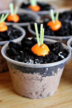 Carrot Patch Pudding Cups ~ Ingredients: 2 Packets of instant chocolate pudding, 2 Cups of milk, 1 Thawed package of Cool Whip, 2 Cups Oreo cookies, Orange Icing (or white with orange food coloring), Edible candy grass (or Coconut dyed with green food coloring).
