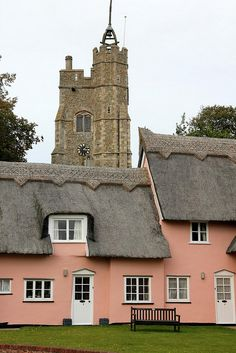 England Travel Inspiration - Cavendish is a large village in the West of Suffolk, between Clare and Long Melford, famous for its much photographed rambling Village Green with pink almshouses nestled in front of a Norman Church tower England Ireland, England And Scotland, England Uk, Suffolk England, Cool Places To Visit, Places To Travel, Travel Destinations, Yorkshire, Places In England