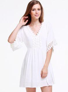 Vestido encaje correa de espagueti-blanco