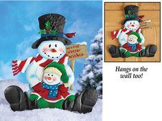 Snowman and Child Garden Stake