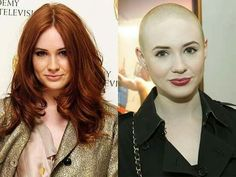 Been a fan of bald women since I first saw Persis Khambatta. Some of a younger generation will, no doubt, say the same of Karen Gillan. Bald Head Girl, Bald Head Women, Shaved Head Women, Long Hair Cut Short, Girl Short Hair, Short Hair Styles, Hair Girls, Before And After Haircut, Bald Hair