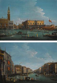 GIUSEPPE BERNARDINO BISON | Venice, a view of the Molo from the Bacino di San Marco;<br />Venice, a view of the Grand Canal from the Palazzo Balbi facing the Rialto Bridge with a regatta
