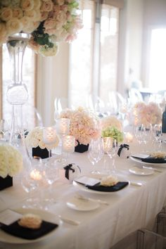 we ❤ this! moncheribridals.com #weddingtablescape #blackandwhitewedding