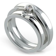 Matching Bezel Heart Concave Diamond Wedding Ring Set in Platinum www.brilliance.co...