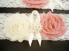 Dusty Rose Garter Set by BloomsandBlessings on Etsy
