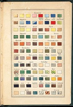 """heracliteanfire: """" 'Gem color chart which appears to be partially hand stenciled. From Vintage Printables.' (via Letterology: The Color Atlas) """" Wassily Kandinsky, Architectural Materials, Color Studies, Minerals And Gemstones, Rocks And Gems, Color Swatches, Color Theory, Vintage Colors, Vintage Prints"""