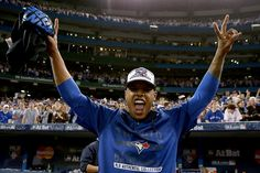 Marcus Stroman of the Toronto Blue Jays celebrates after the Blue Jays defeat the Texas Rangers 63 in game five of the American League Division. Marcus Stroman, Mlb Postseason, American League, Toronto Blue Jays, Derek Jeter, Latest Sports News, Team Photos, Texas Rangers, Athletic Women