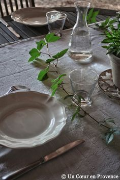 Old plates and table decorations with ivy