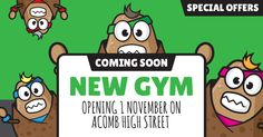 Ouch Potato new gym in Acomb, York. York Fitness, Circuit, Potato, Gym, Illustration, Potatoes, Illustrations, Gym Room, Character Illustration
