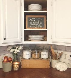 57 Pretty Home Interior Ideas To Add To Your List Like the corner cupboard. Farmhouse kitchen with butcher block countertops and subway tile. Farmhouse Kitchen Inspiration, Farmhouse Sink Kitchen, Country Kitchen, Diy Kitchen, Kitchen Dining, Kitchen Sinks, Farmhouse Decor, Kitchen Ideas, Farmhouse Style