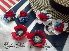 4th of July Earrings, Flower Earrings, Earrings, Gifts for her, Coachella Jewelry, Bridal Jewelry, Boho Jewelry, Statement Earrings by PetalsandBuds on Etsy