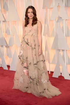 Keira Knightley @ 2015 Oscars in Valentino. I had not seen Keira before this article and was a bit shocked when I looked at the photo. But the fabric and embroidery of this dress is just too gorgeous to ignore.