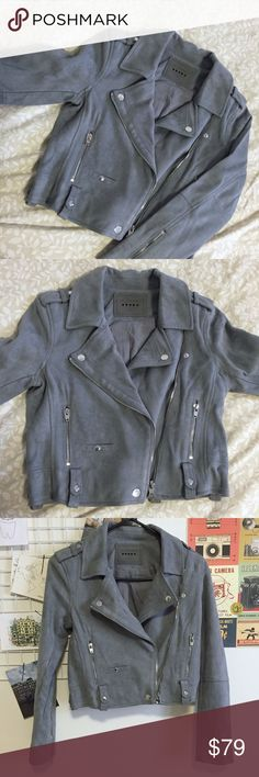 BLANKNYC Gray Blue Suede Moto Jacket BLANKNYC Gray Blue Suede Moto Jacket. Size Medium. Note that belt is not included. Great condition, never worn. Offers are welcome! Blank NYC Jackets & Coats