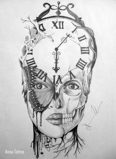 . Cool Arm Tattoos, Foot Tattoos, Body Art Tattoos, Sleeve Tattoos, Tattoos For Guys, Clock Drawings, Dark Art Drawings, Tattoo Design Drawings, Skull Girl Tattoo