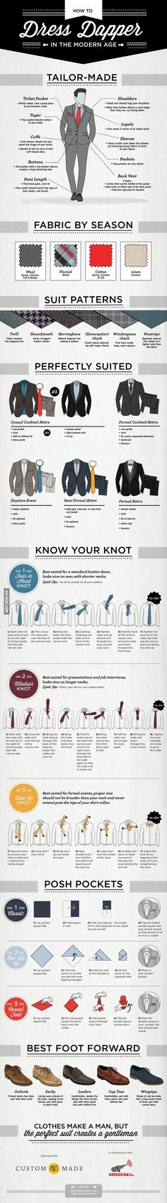 A gentleman is never well-dressed until he learns to wear the true mark and pinnacle of men's style – the tailor made suits. With the help of this infographic on How to Dress Dapper in the Modern Age Gentleman Mode, Gentleman Style, Dapper Gentleman, Modern Gentleman, Sharp Dressed Man, Well Dressed Men, Style Masculin, La Mode Masculine, Mode Style