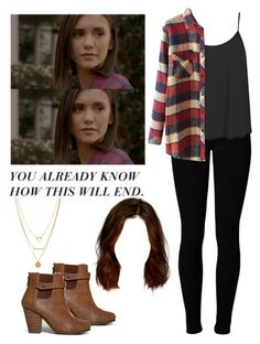 Elena Gilbert-- The Vampire Diaries ❤ ⭐⭐⭐⭐ Cute Emo Outfits, Teen Wolf Outfits, Casual School Outfits, College Outfits, Outfits For Teens, Stylish Outfits, School Looks, Tv Show Outfits, Fall Outfits